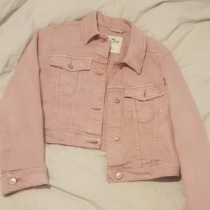 Hollister crop stretch denim jacket